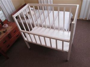 Cot, crib, 1970s, baby bed, folding side, wheels, with mattress, in very good condition, solid wood. for sale  Kimberley