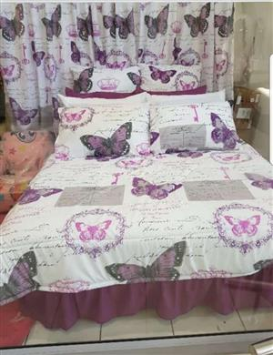 White and purple butterfly bedding and curtain set