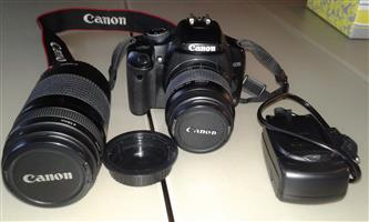 CANON EOS 450D CAMERA, LENSES, CHARGER AND PADDED BAG