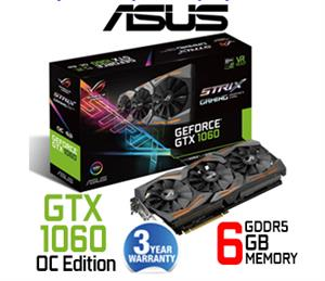 Asus ROG Strix GTX 1060 6GB GDDR5 OC VR Ready Gaming Graphics Card / 1280 Cuda Core / Aura RGB Lighting / VR-friendly HDMI / ROG STRIX-GTX1060-O6G-GAMING