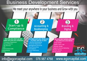 Bookkeeping, Company Registration, SARS, CIPC, Financial Statements, Business development services
