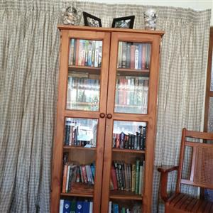solid pine bookshelf with glass inserts