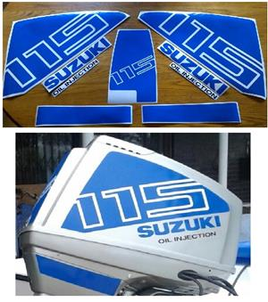 Suzuki DT 115 outboard motor cowl decals stickers vinyl graphics kits