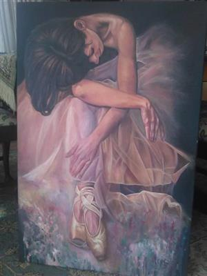 Pragtige Olieverf skildery van Ballerina