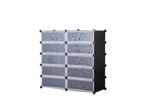 Hazlo 10 Compartment Cubical Shoe Storage Rack Organizer Holder