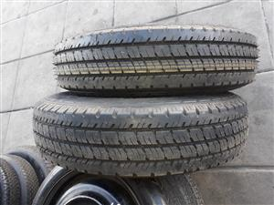 2 x 7.00R16C Goodyear Dulamax track tyres with rims