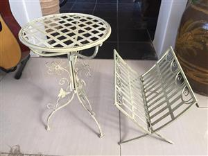 A set Small occasional side table and magazine rack - price for the 2 items