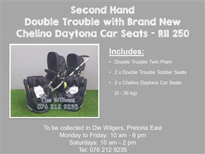 Second Hand Double Trouble with Brand New Chelino Daytona Car Seats