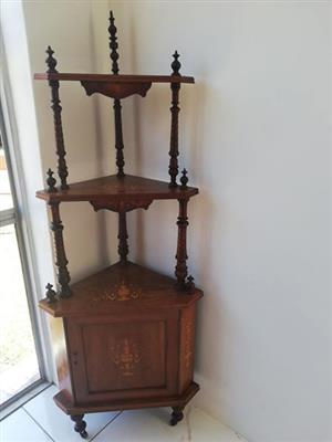 Whatnot victorian inlaid corner stand