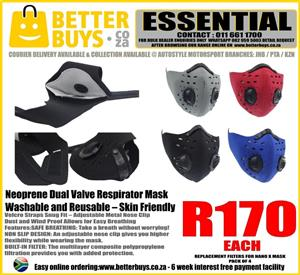 Neoprene Dual Valve Respirator Mask – Washable and Reusable – Skin   Friendly R170