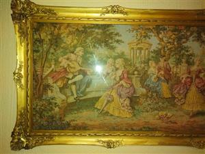 Antique tapestry in frame for sale