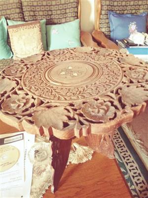 Flower carved wooden side table