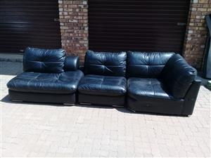 Grafton Everest corner 5 seater black leather lounge suite with leather and glass coffee table