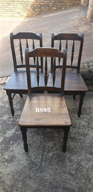 3 x Cottage Pine Chairs