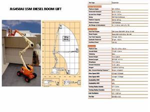 Cherry Picker Hire: JLG450AJ 15M DIESEL BOOM LIFT FOR HIRE/SALE
