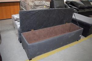 Grey suede storage chest