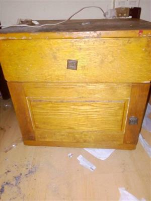 Antique light wooden working cabinet