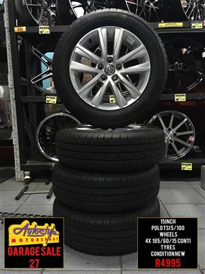 Garage Sale 27 rims tyres alloy wheels mags R4995 set with tyres 15 inch VW Polo Tsi Wheels 5-100pcd  4 x 185-60-15 inch Conti Tyres 95 percent Thread  Condition New  Suitable for VW Polo and Audi A1  wide range brand new mags and tyres available