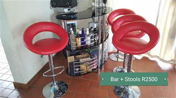 Bar and red chairs for sale
