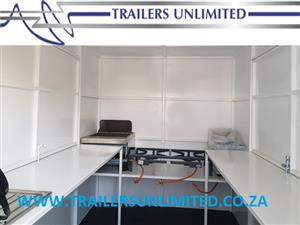 TRAILERS UNLIMITED 4000MM MOBILE KITCHEN. TOP COMMERCIAL EQUIPMENT. THE CLEANEST CATERING TRAILERS IN AFRICA.