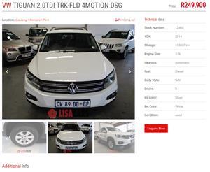 2014 VW Tiguan 2.0TSI Track&Field 4Motion tiptronic