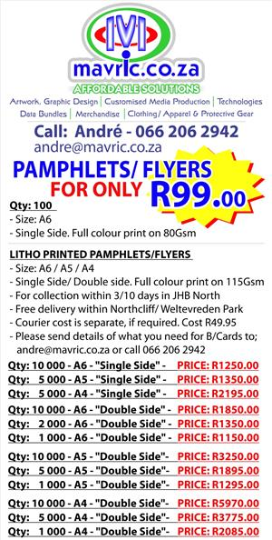 PAMPHLETS/ FLYERS ONLY - R99.00
