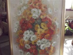 Hazel Miller Large Oil painting of different colored daizys R 1000.
