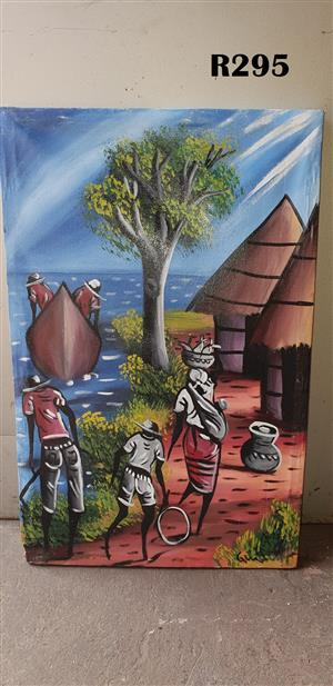 Five People and a Boat Painting (400x630)