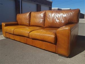 ALEXIOU 3 Seater Rich Tan Brown Full leather modern couch for sale.