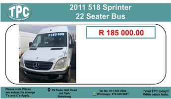 2011 518 Sprinter 22 Seater Bus For Sale.