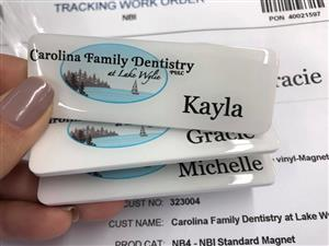 MAGNETIC DOMED NAME BADGES ONLY R29 EACH - NAME AND POSITION OF STAFF AS WELL AS FULL COLOUR LOGO AND MAGNET / PIN FITTING