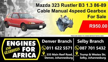 Used Mazda 323 Rustler 1.3L B3 Cable Manual 4Speed 86-89 Gearbox For Sale