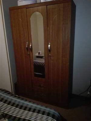 2 Door wooden closet with mirror