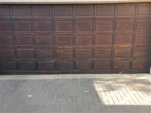 Double garage door with hardware