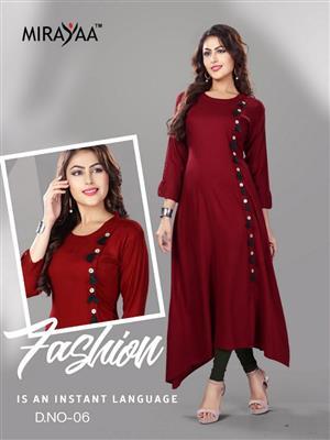 mirayaa taka tak Heavy Reyon Kurti With Pattern party wear stylish collection
