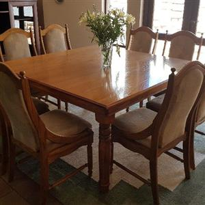 8 seater American oak dining table and chairs