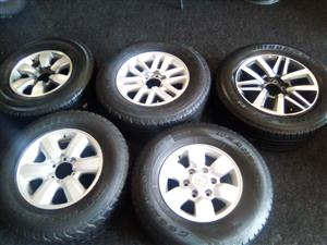 Toyota Hilux/ Fortuner rim and used tyre 15 inch for R899.00. 16 inch R1150.00, 17 inch thick spoke R1350, 17 inch twin spoke R1799, 18 inch R2499.00.
