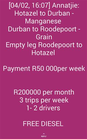 TRANSPORTERS NEEDED URGENTLY FOR GUARANTEED WORK/LOADS - EARN R50 000 WEEKLY
