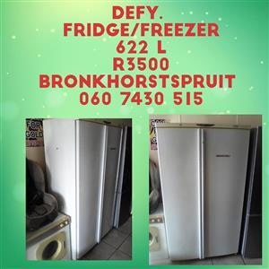 White Defy double door fridge with freezer