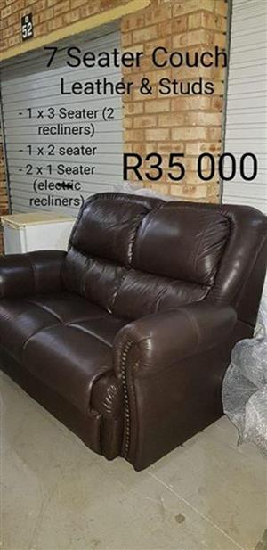 7 Seater brown leather lounge suite