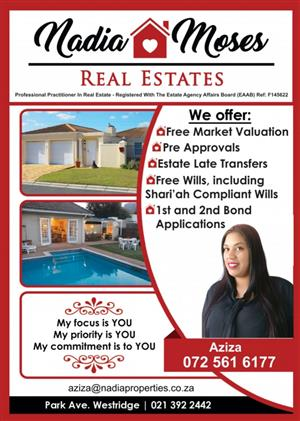 Grassy Park. Considering selling your home or know of someone wanting to sell their home? Call Aziza Kader on 0725616177