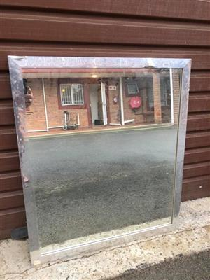 Large silver framed mirror for sale