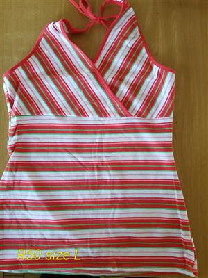 Large red and white striped summer top