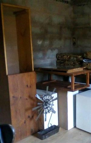 Wooden table and sliding cupboard