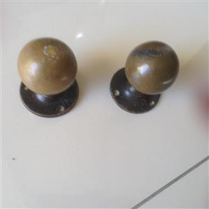 Brass round door handles