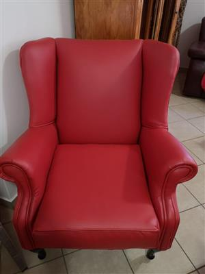Single Leatherlike Wingback Chairs