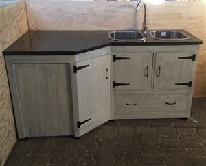 Kitchen Cupboard Scullery unit Farmhouse series 1800 L-shape Grey washed