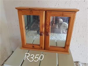 Wooden 2 door bathroom cabinet with mirrors