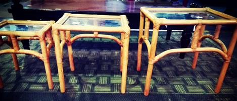 3 set Cane and Glass Tables