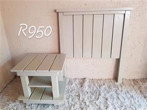 White single headboard and side table